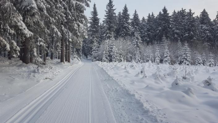 čerstvá lyžařská stopa